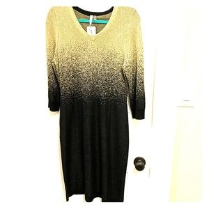 Black and Gold Ombré Sweater Dress